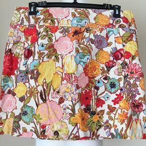 ELEVENSES Floral Corduroy Above Knee Skirt